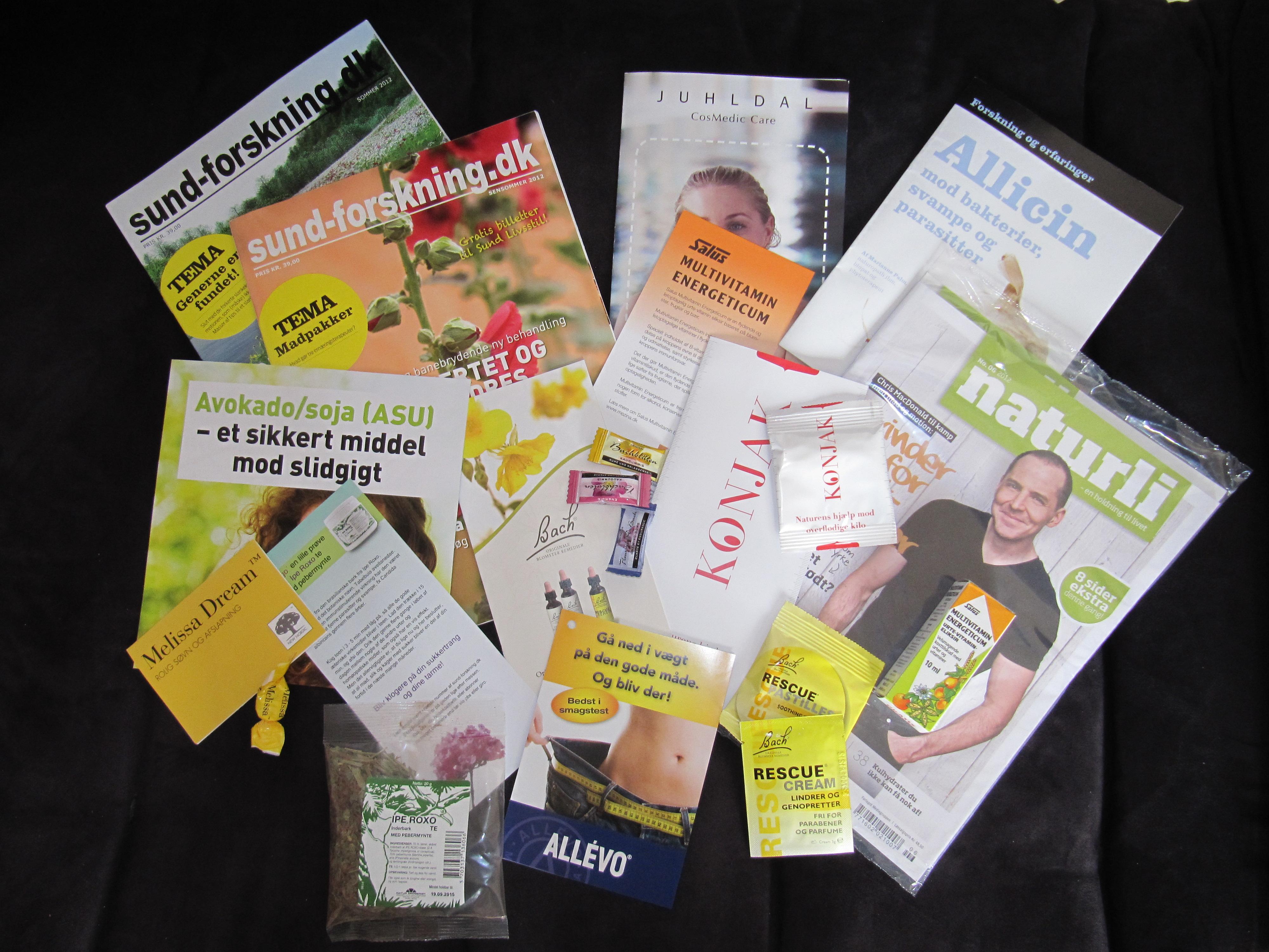 Indhold af sundheds-goodie-bag